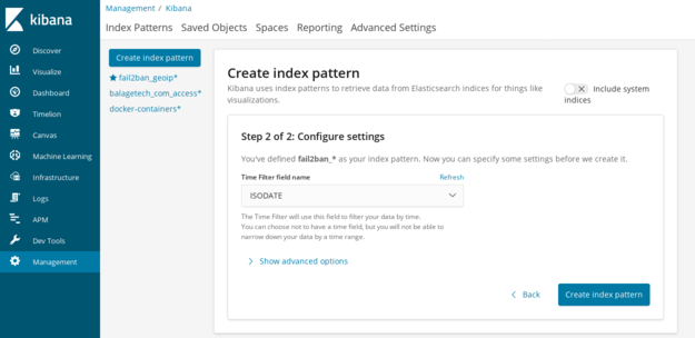 Kibana create index pattern - step 2