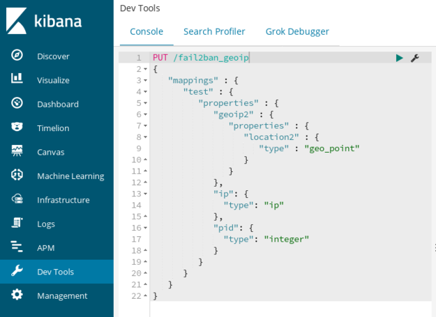 Kibana Dev Tools PUT mapping API